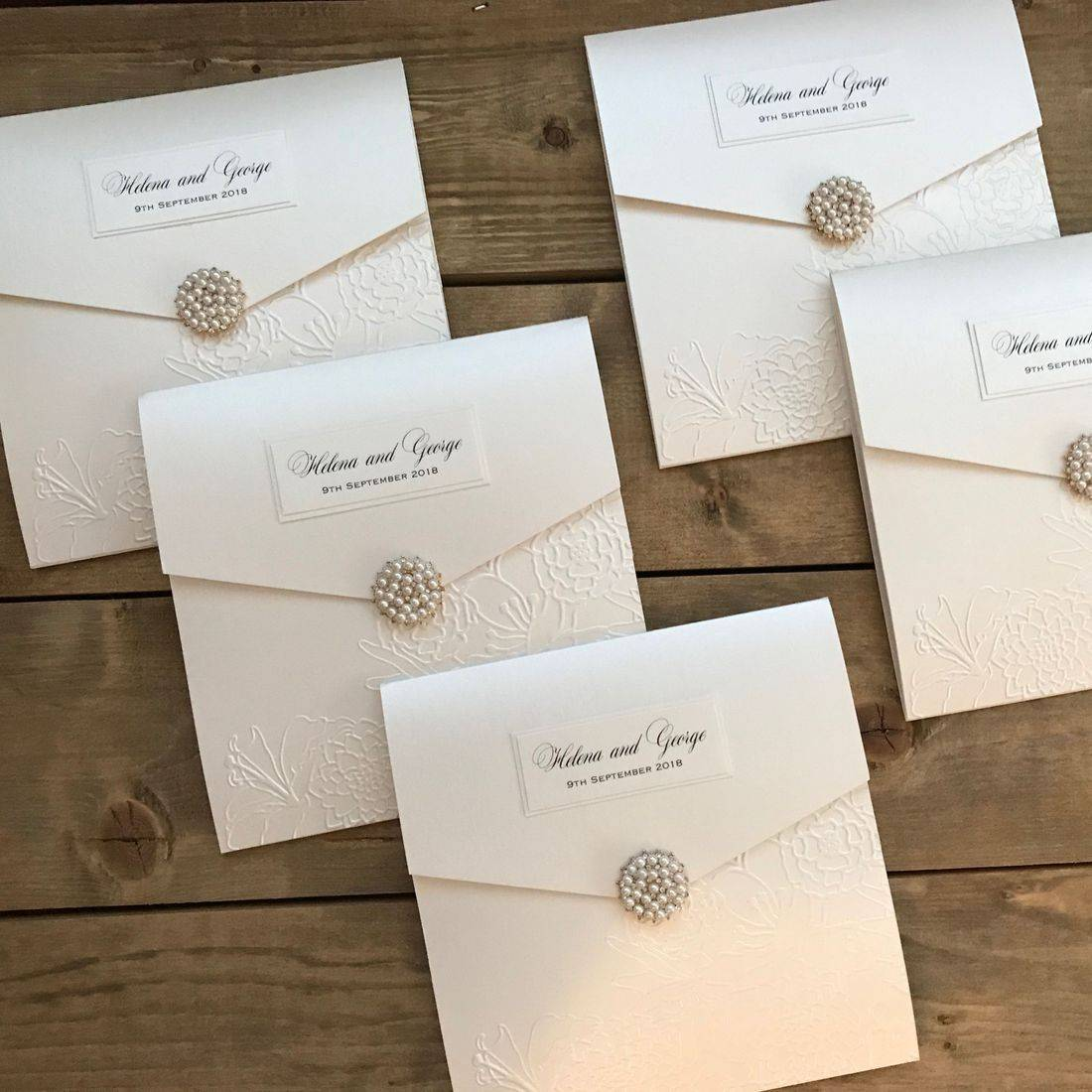 Wedding Invitation with pearls and diamante