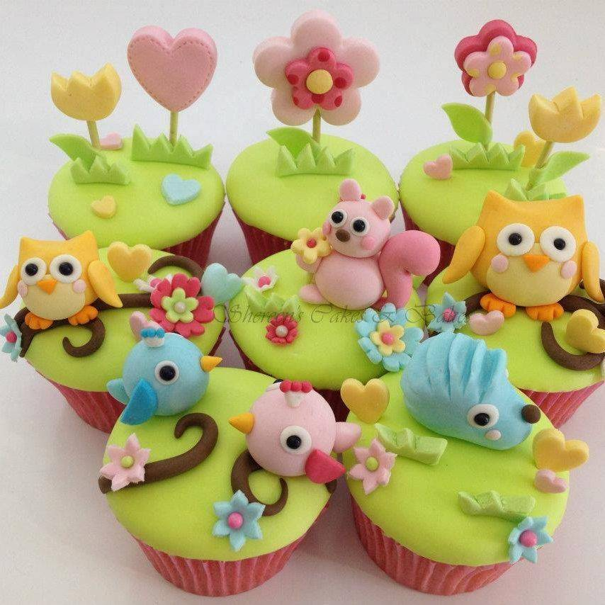 Woodland Cupcakes Bird Birthday Owl Squirrel Hedgehog Flowers