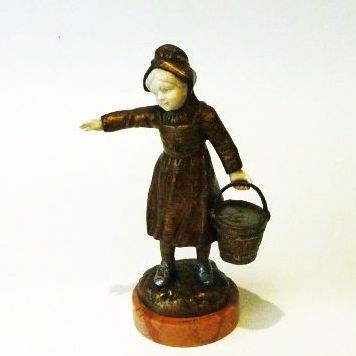 Gilt bronze figure of a milk maid signed R Richard 1860