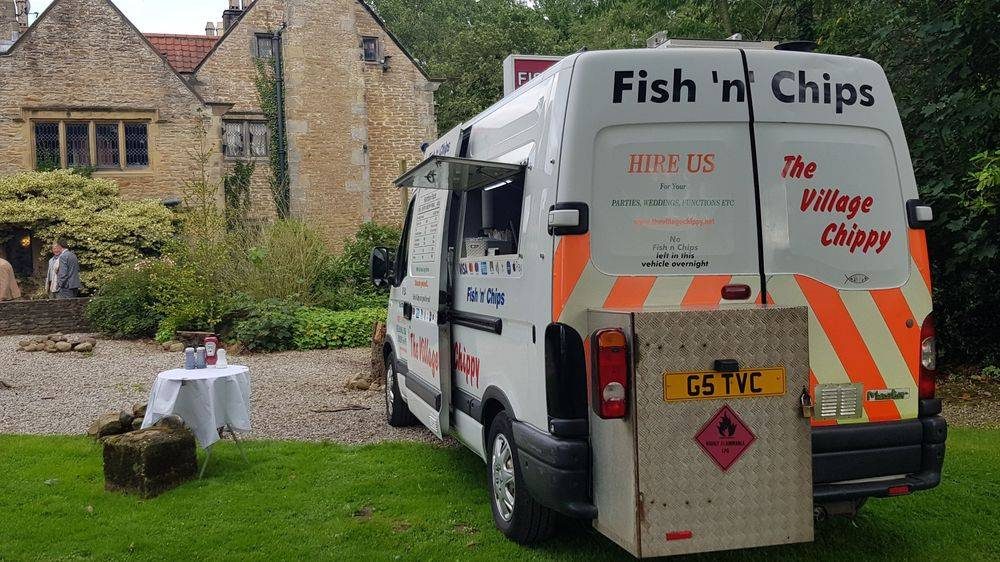 Fish and chip van for wedding reception