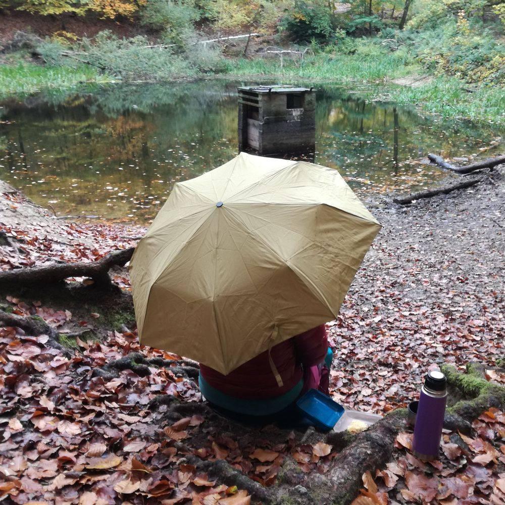 Regen Teich Regenschirm Pause essen Heike Otto