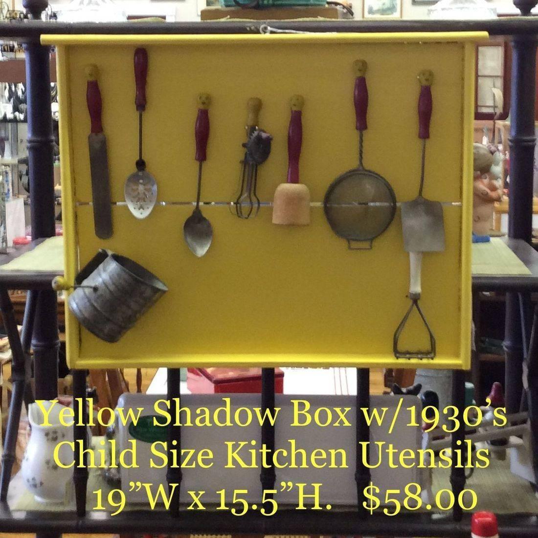 Yellow Shadow Box w/1930's Child Size Kitchen Utensils   $58.00