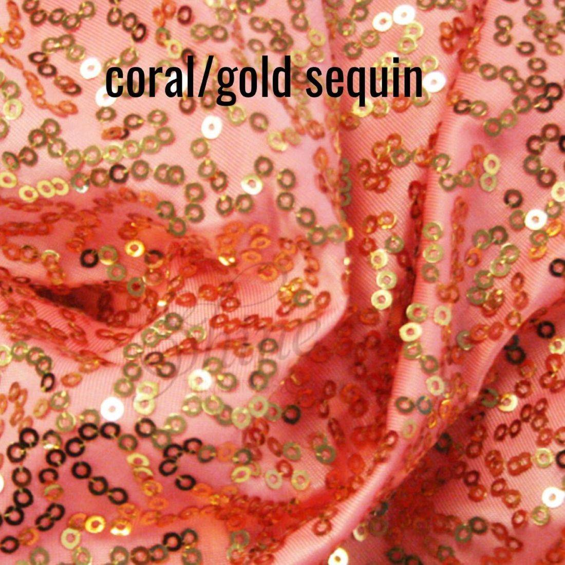 Coral/gold sequin