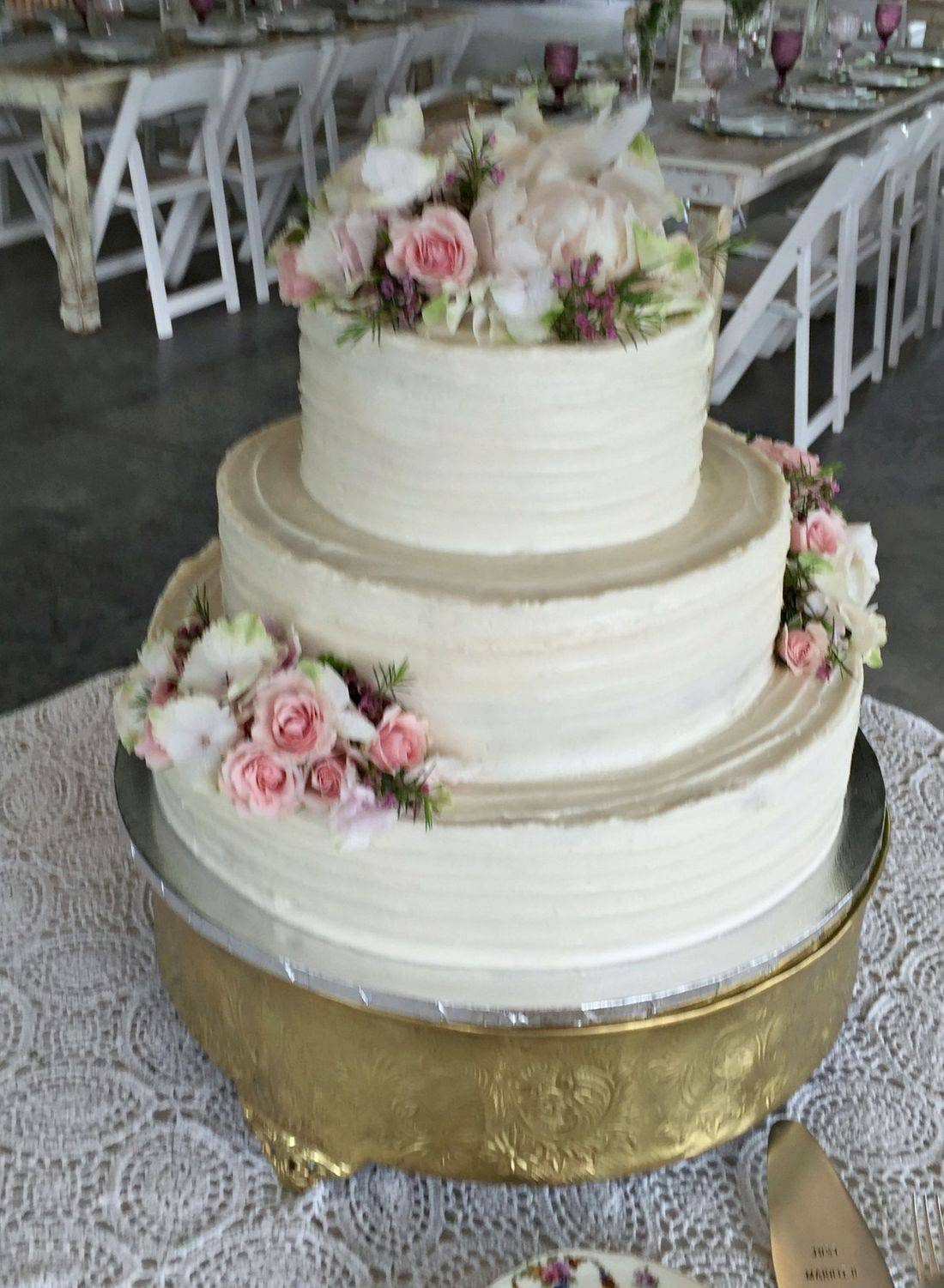 3 tier Buttercream wedding cake rustic southern style 3 tier