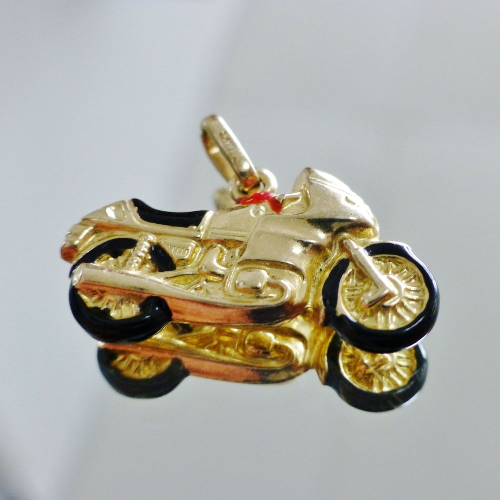 yellow gold enameled 3D motorcycle pendant