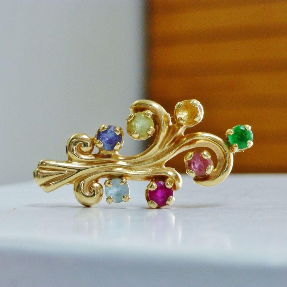 Multi Gemstone Swirling Birthstone Mother's Pendant in Yellow Gold
