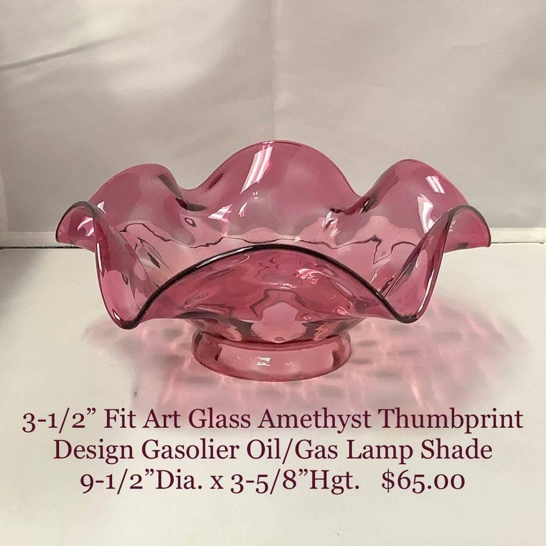 "3-1/2"" Fit Art Glass Amethyst Thumbprint Design Oil/Gas Lamp Shade   $65.00"