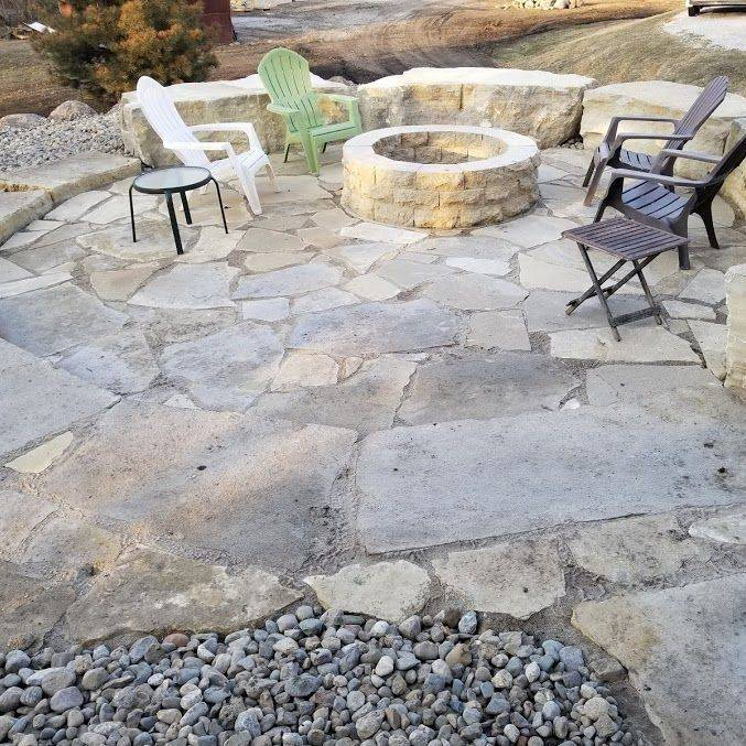 Iowa, landscape, stone patio