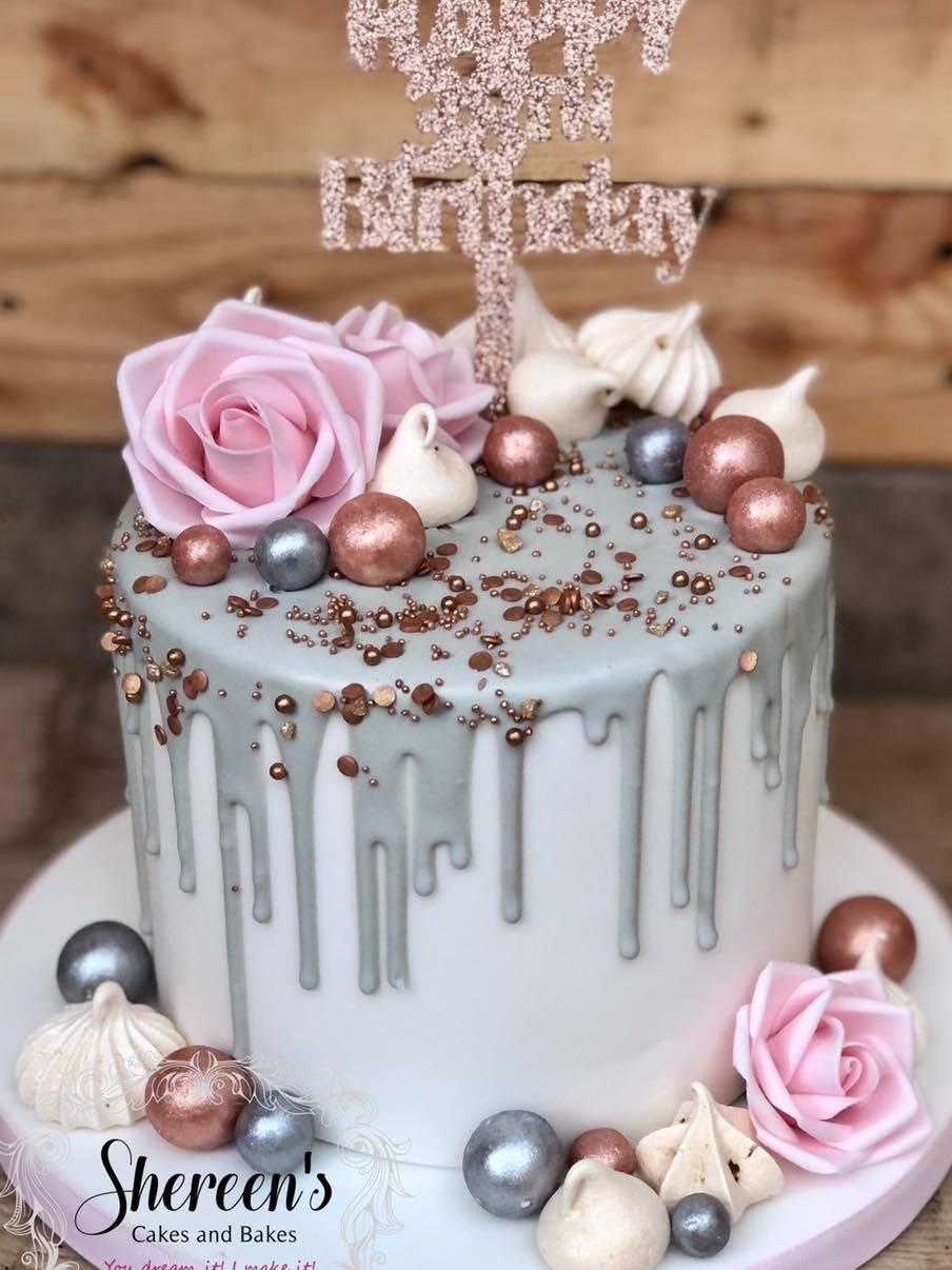 pink grey white birthday drip cake roses meringue lustre balls glitter cake topper