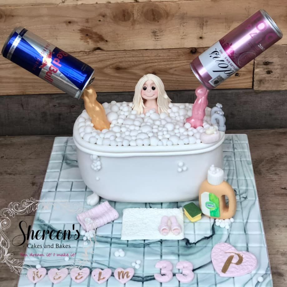 Birthday Cake pink gin red bull gravity defying bath dettol towel bubbles