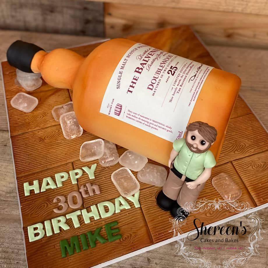 Birthday Cake 30th whiskey whisky bottle balvenie ice