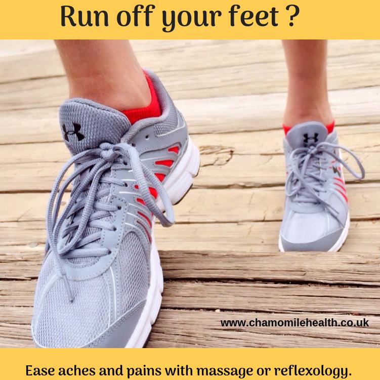 running, reflexology, massage