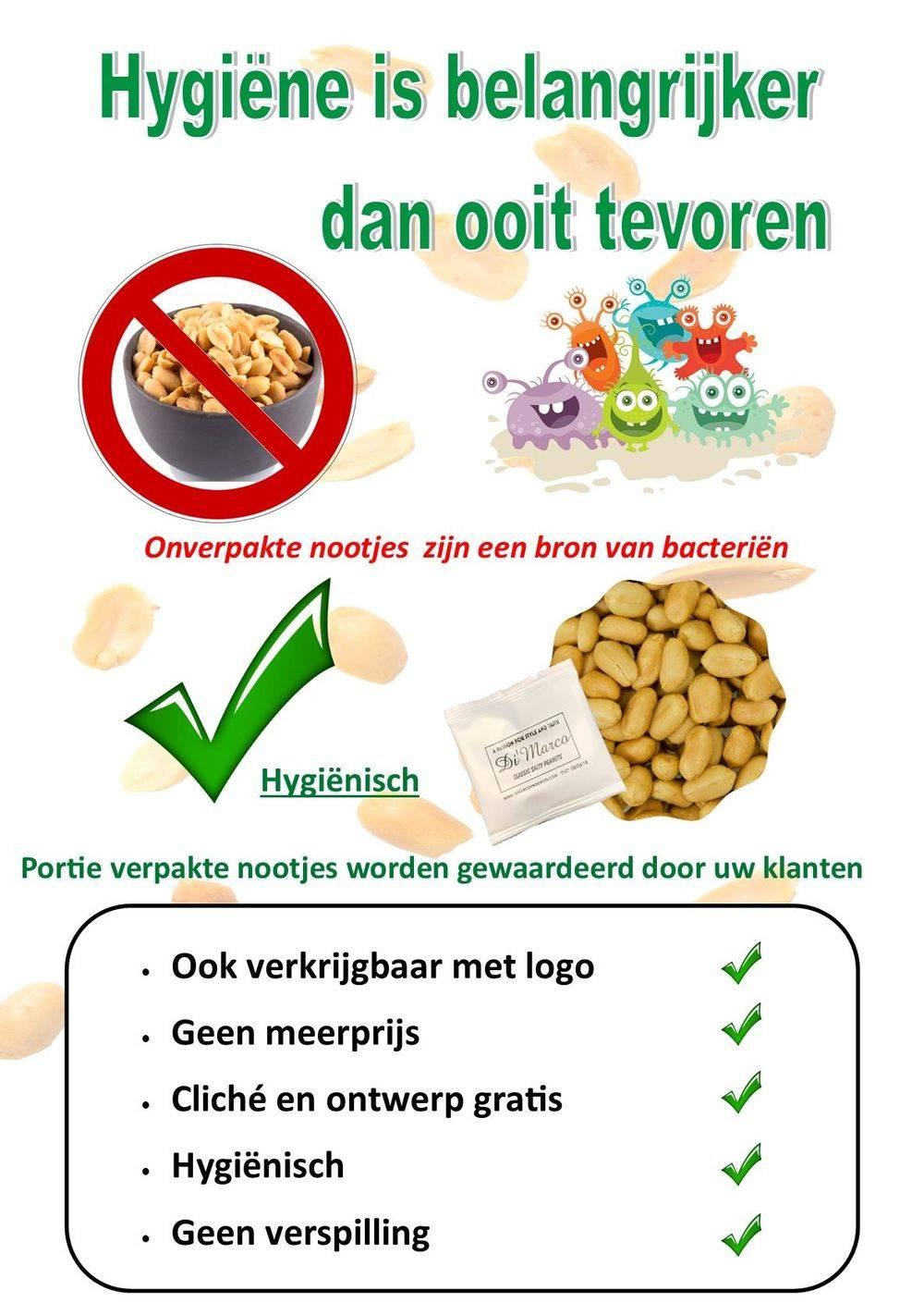horeca porte noten voor de hygiene Ook verkrijgbaar met logo          Hygiënisch Cliché en ontwerp gratis Ideale reclamedrager Geen verspilling