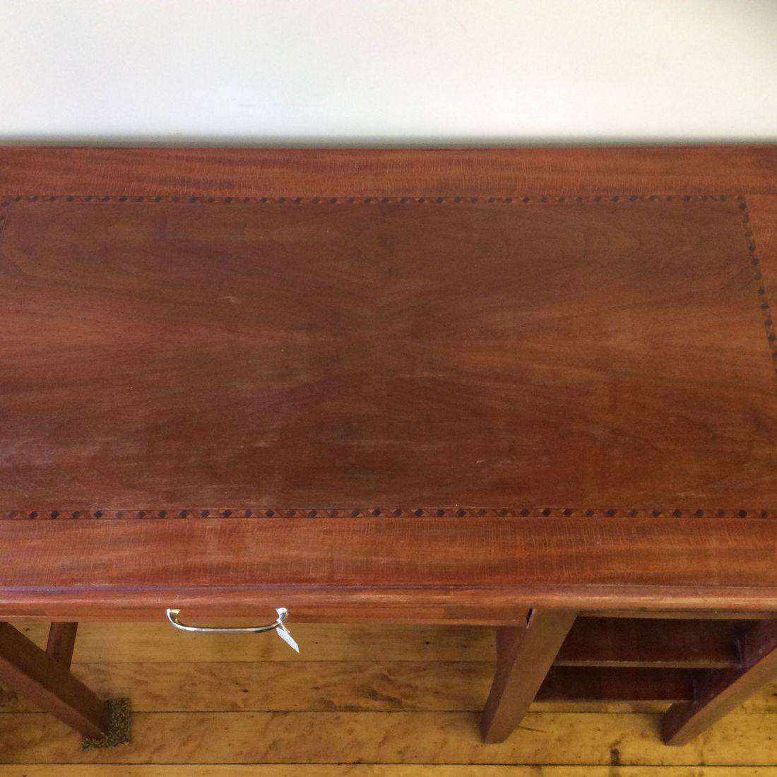 Top View of 1950's Cherry Finish Desk   $150.00
