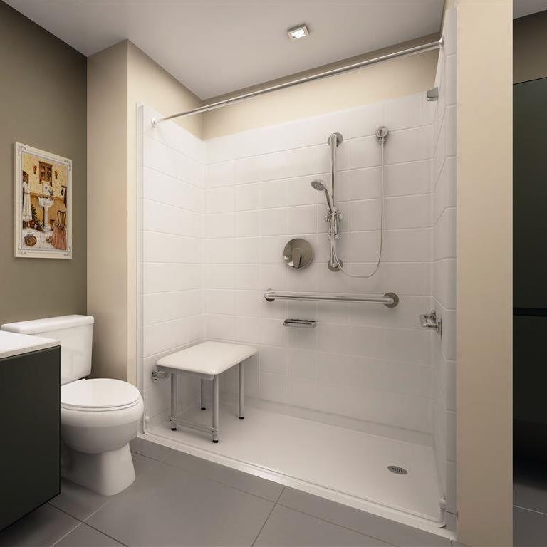barrier free shower , handicap shower, roll in shower , disabled shower, accessible shower