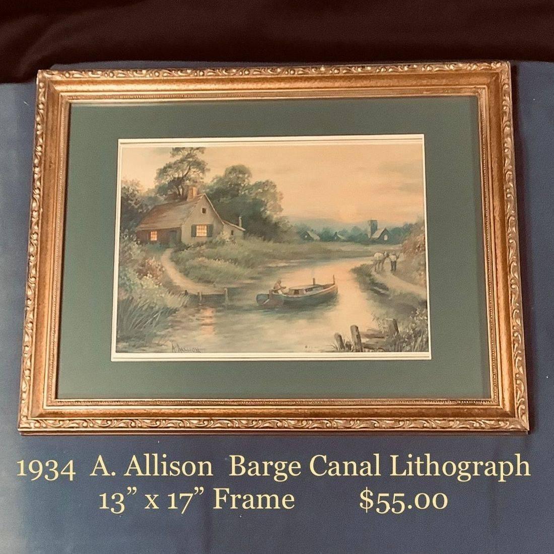 "1934 A. Allison, Barge Canal Litho 13"" X 17""   $55.00"