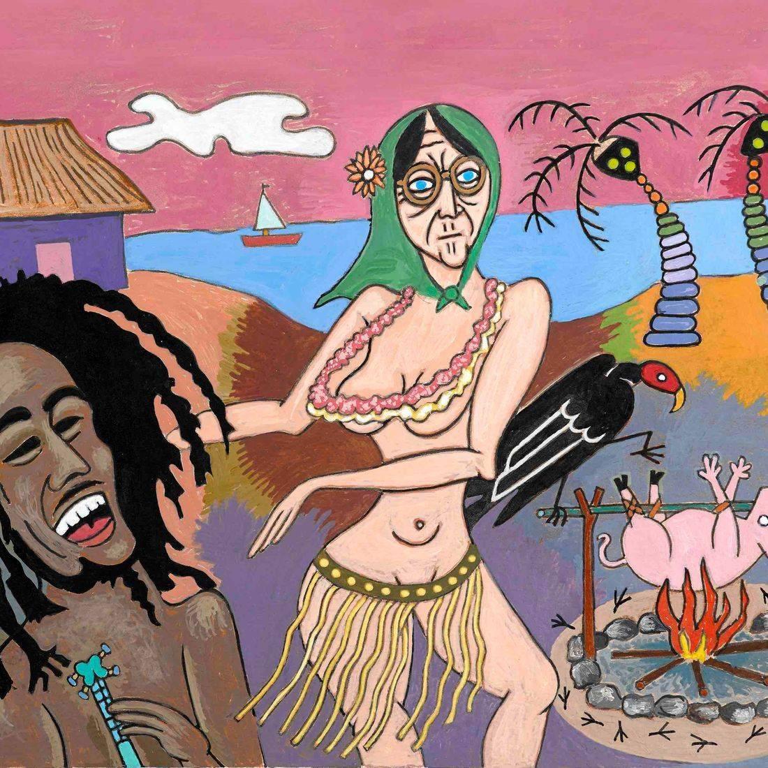 Stirring It Up, Bob Marley, Pig Roast, Jamaica, Island, Buzzard, Rastafarian, Lei, Grass Skirt, Babushka