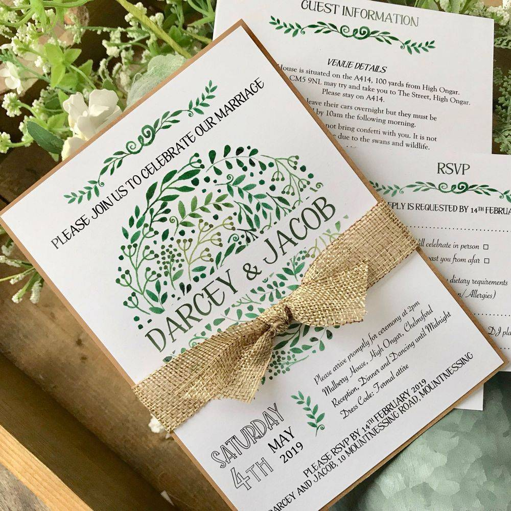 Rustic Wedding Invitation with leaf design and burlap
