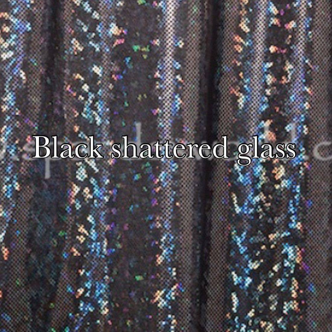 black shattered glass