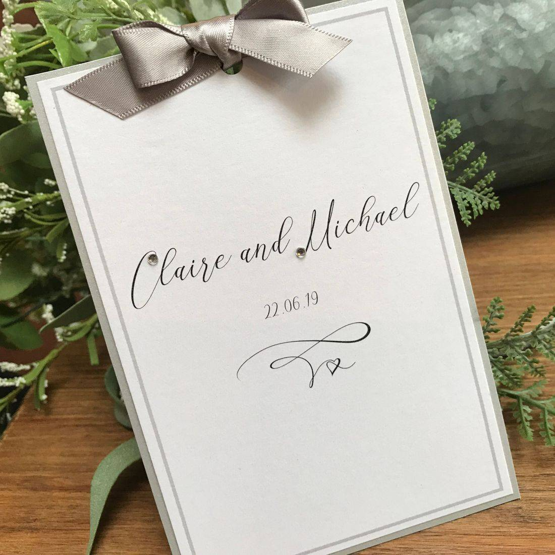 Ribbon Tied Wedding Invitation Silver and White