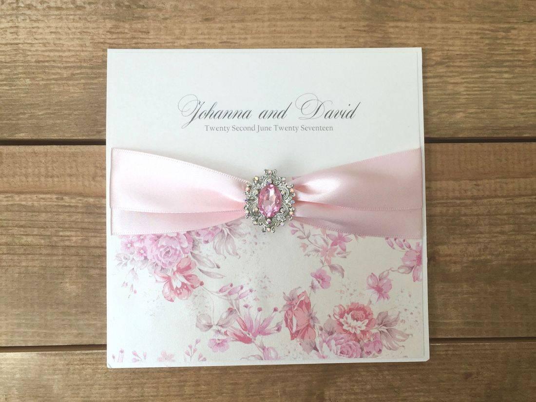 Luxury Vintage Wedding Invitation in pink