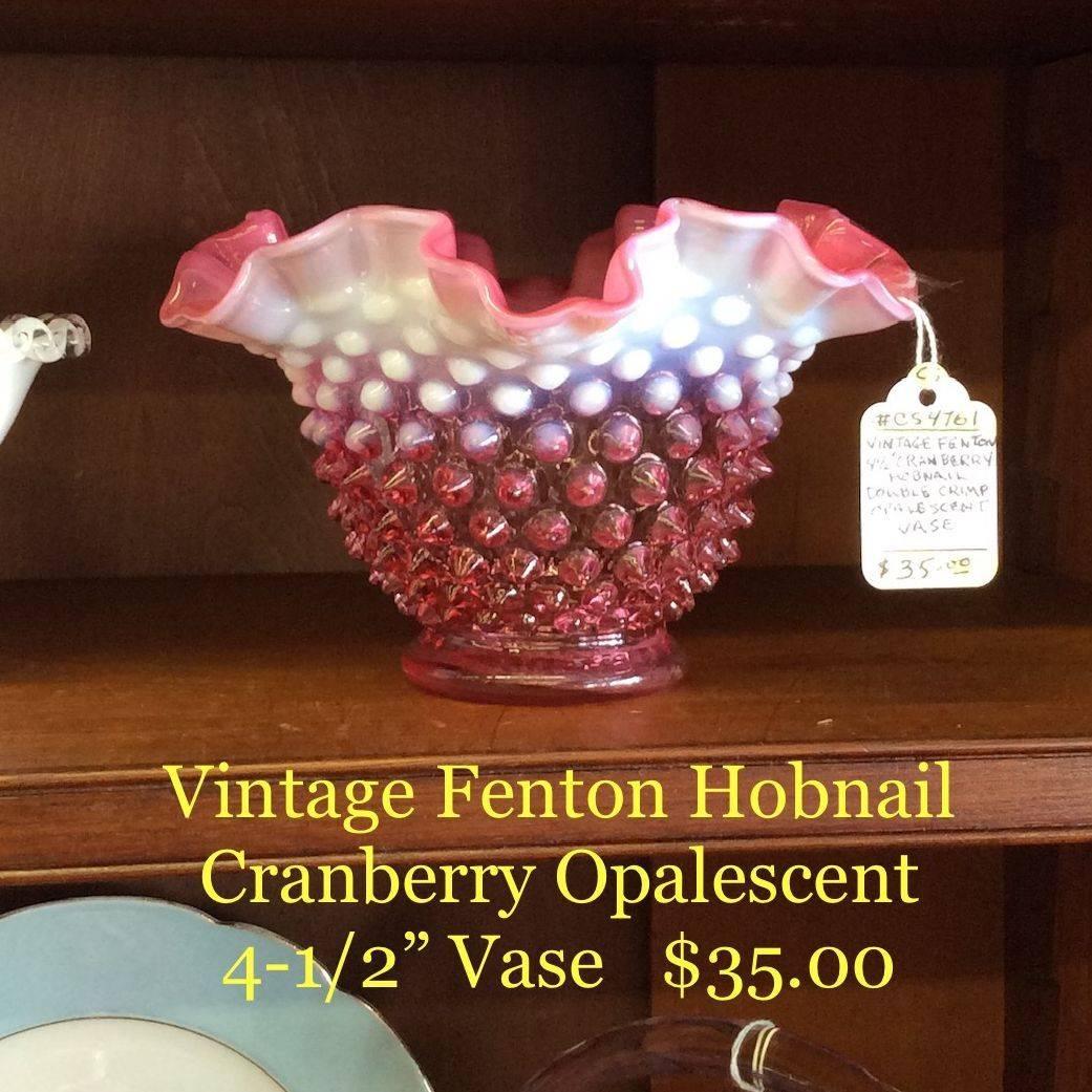 """Vintage Fenton Hobnail Cranberry Opalescent Double Crimped 4-1/2"""" Vase   $35.00"""