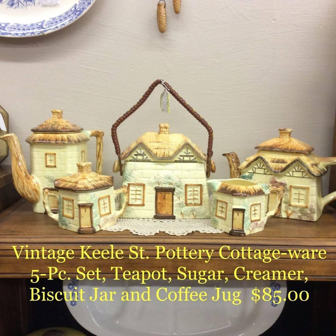 Vintage Keele St. Pottery Co. Hand-Painted Cottageware 5-pc. Set, Teapot, Sugar, Creamer, Biscuit Jar and Coffee Jug   $85.00