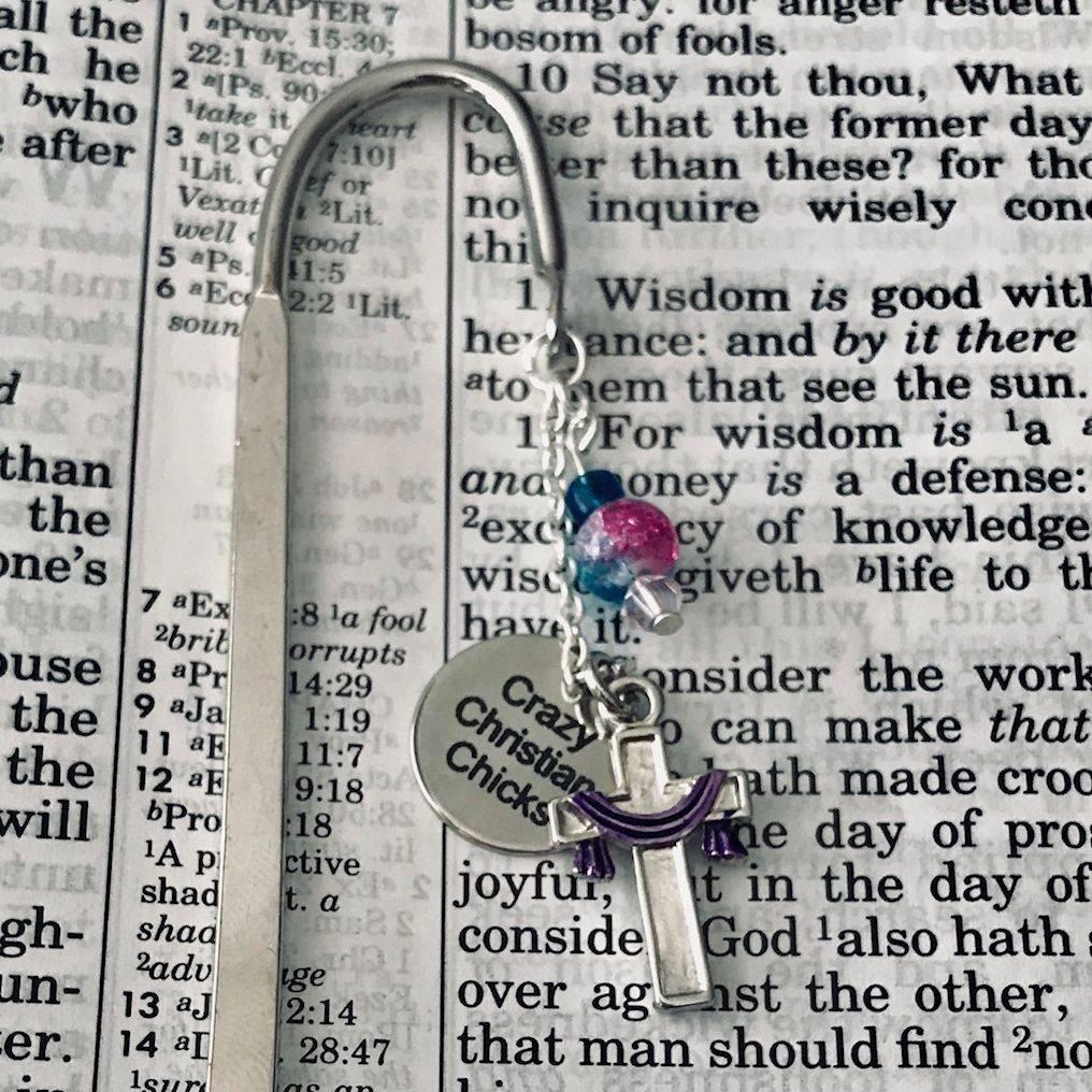 Custom Handmade Cross, Charm, Silver Book Mark, religious