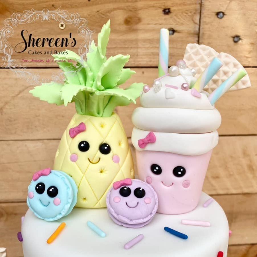 Kawaii Birthday Cake pineapple ice cream cake slice rainbow cherries strawberry macaron donut frappe milkshake