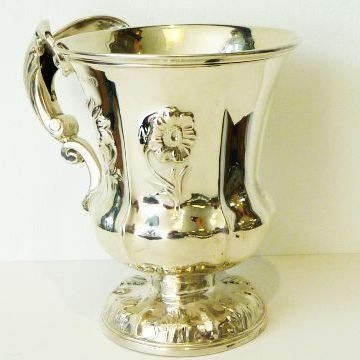 silver goblet, dates 1833/gilded inside/11cm h , wirght 175.5gm