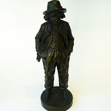 """Jean Garnier BRONZE of the """"young violinist"""" with foundry seal"""