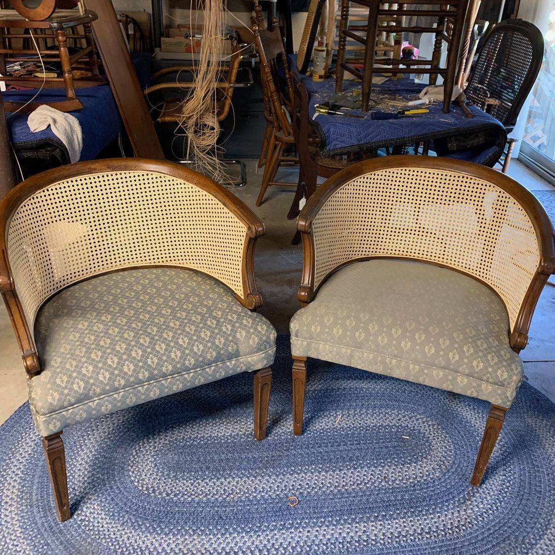 Pressed Cane Barrel Chairs by Hank's Cane & Rush Restoration