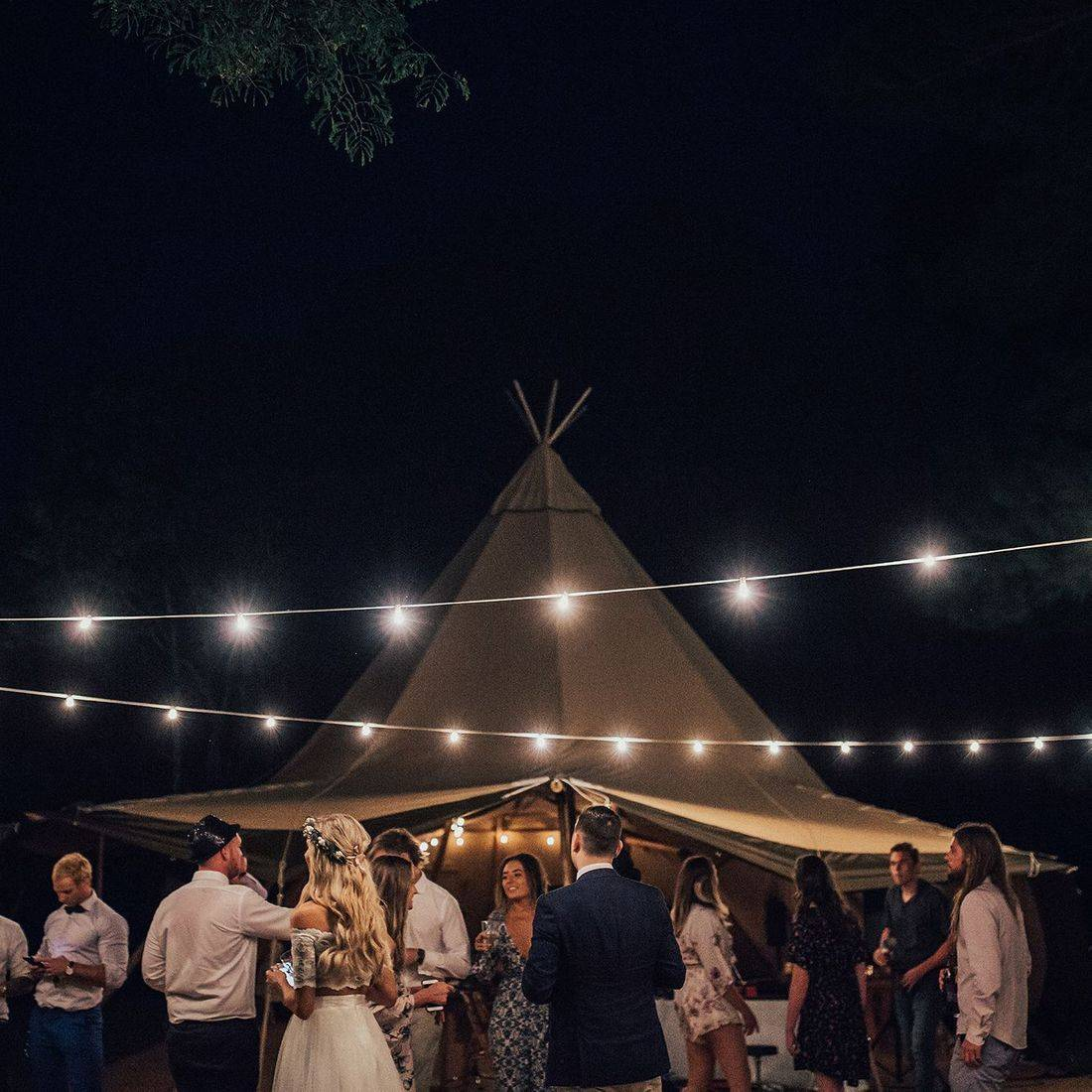 Tipi setting for dining and dancing
