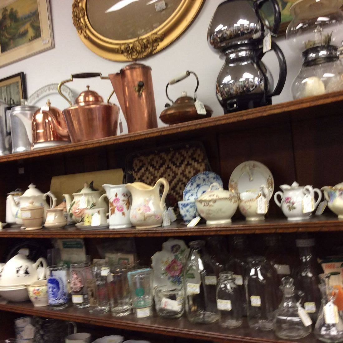 Vintage Copperware, Kitchenware, Milk Bottles,  & China  ( prices vary )