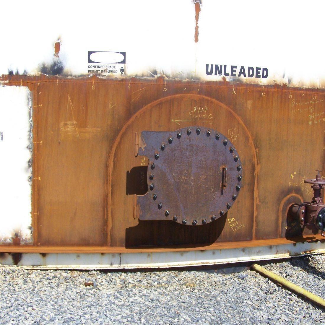 API 653 Steel storage tank repair; addition of foam chamber flange to top of storage tank.