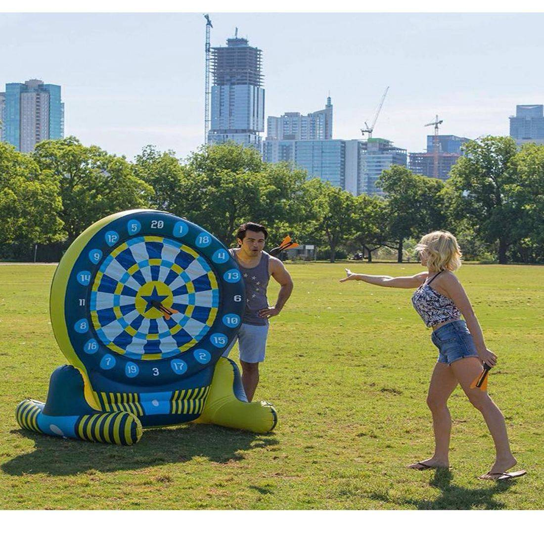 Inflatable giant dart game