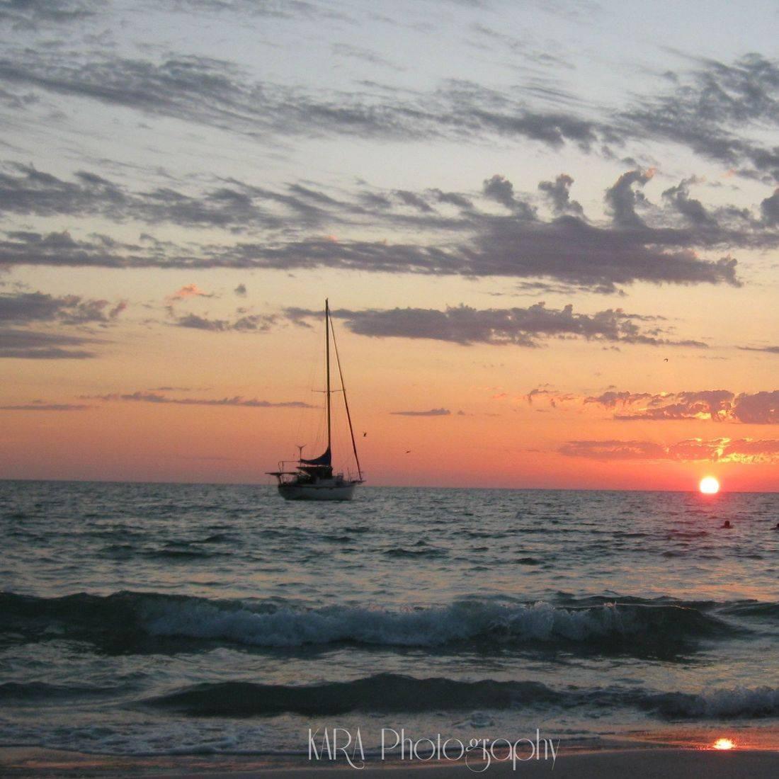 Anna Maria Island, Florida, Gulf of Mexico, Sunset, Beach, Boat