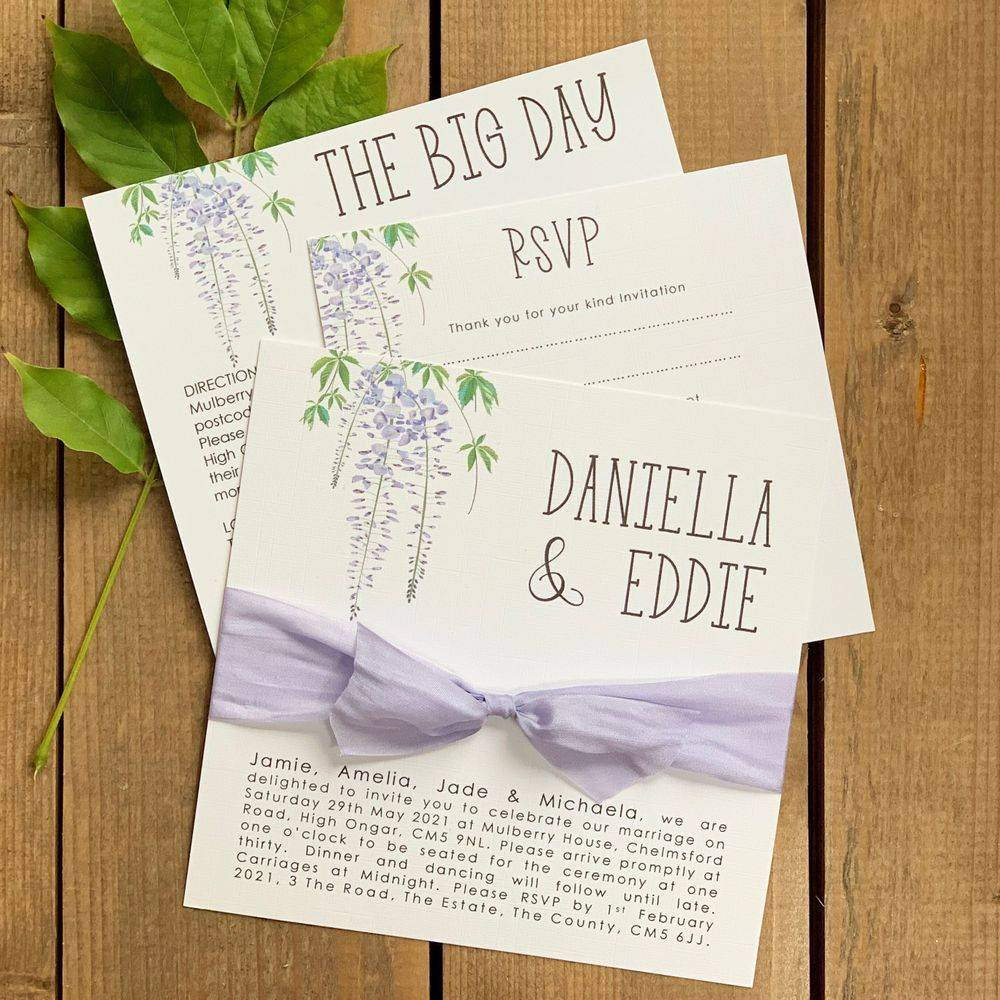 Floral stationery in white and slate blue