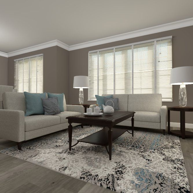 Living room design, interior design, modern, transitional, blue, grey, hardwood