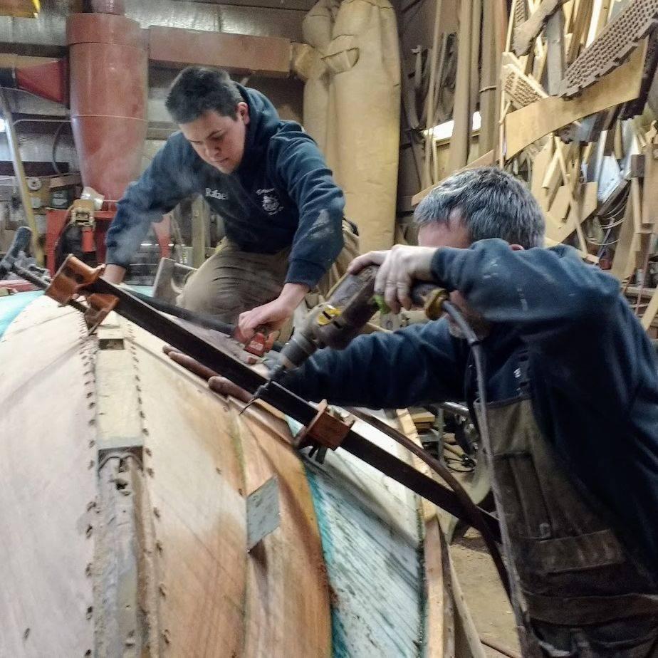 Replacing bottom on Chris Craft at Bergersen Boat
