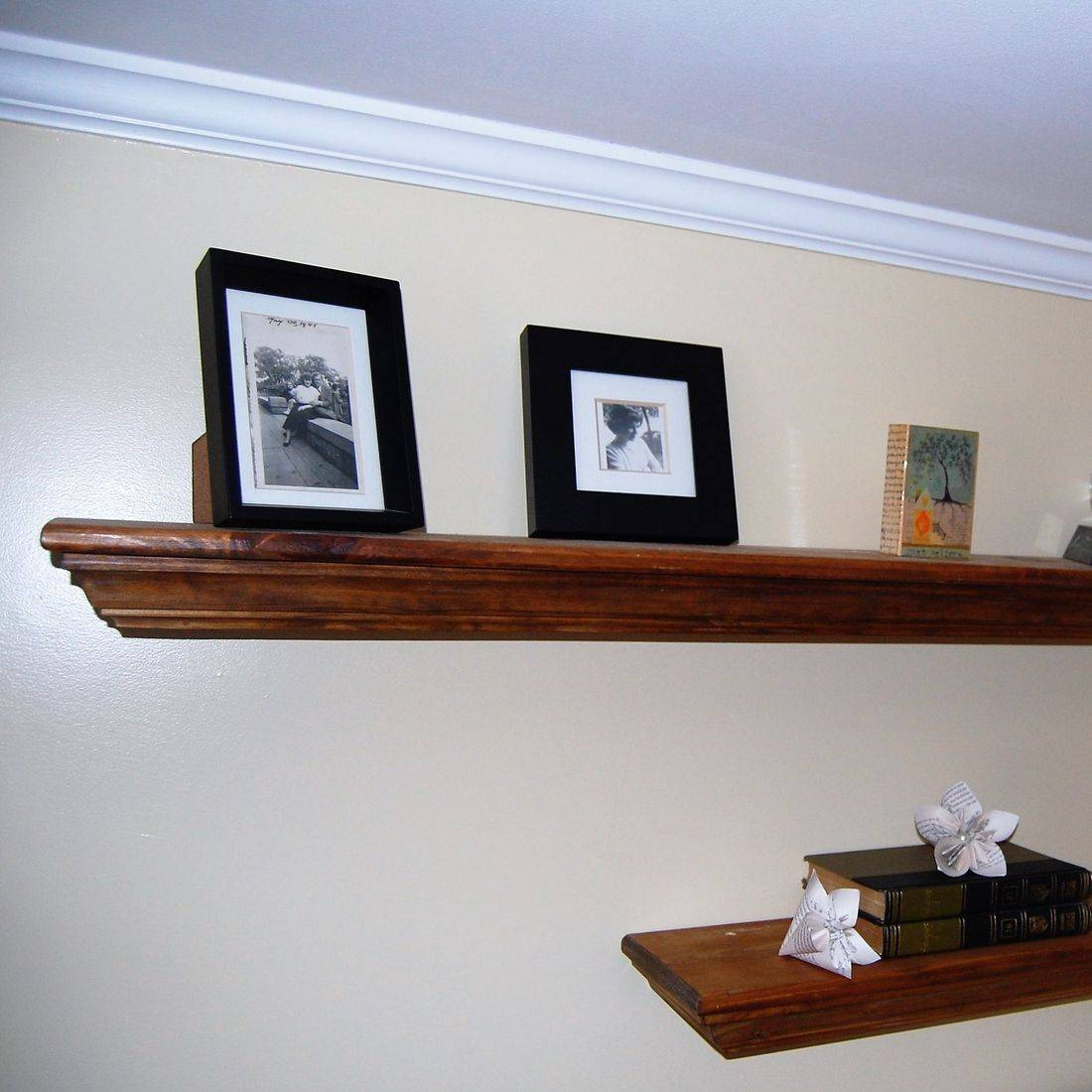 Floating shelves with home accents