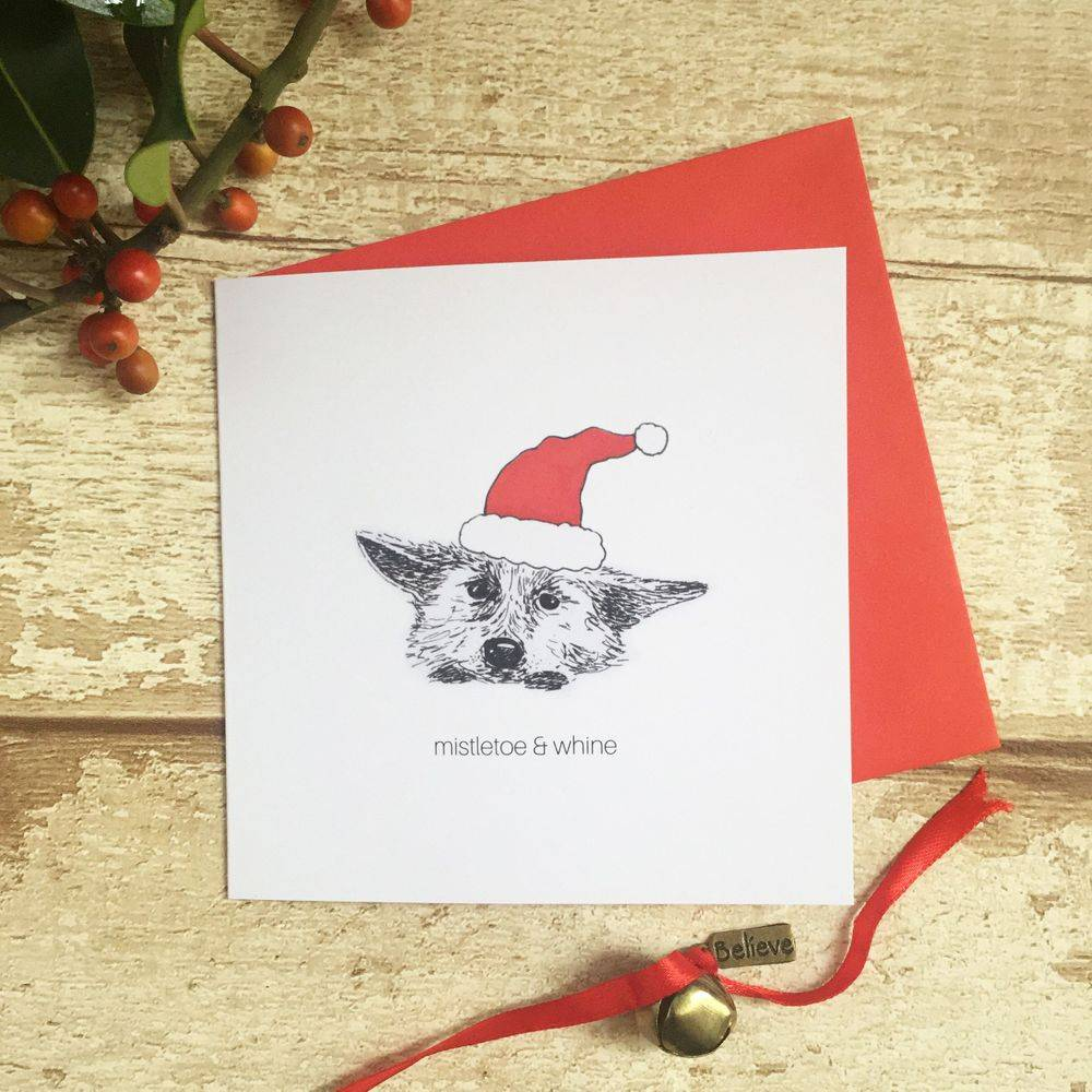 mistletoe and whine funny witty humour Christmas Xmas card