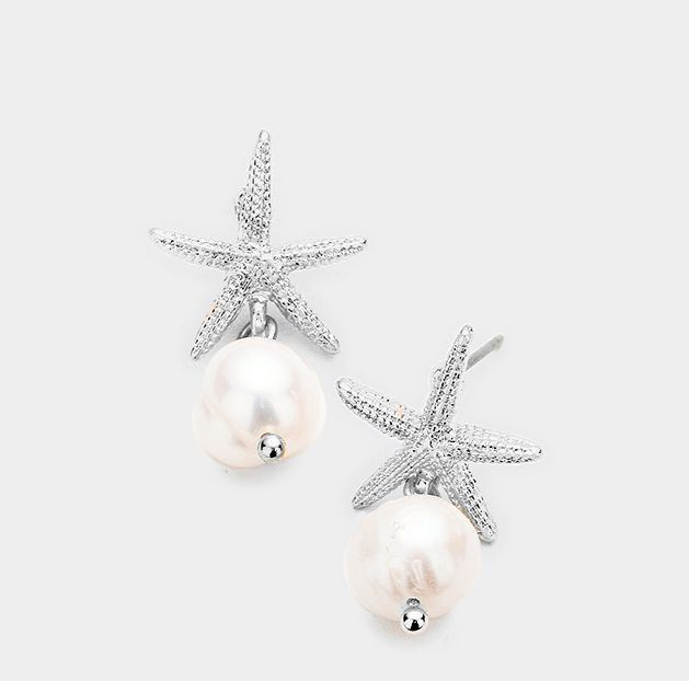 earrings, jewelry, starfish, pearl