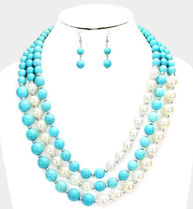 jewelry, necklace, earrings, statement beaded necklace