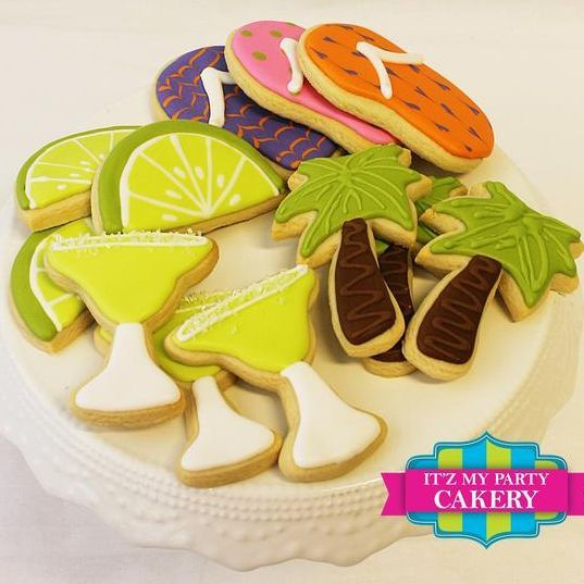 Beach Party Cookie Set Margarita Glass Cookies Palm Tree Cookies Flip Flop Cookies Lime Slice Cookies Milwaukee