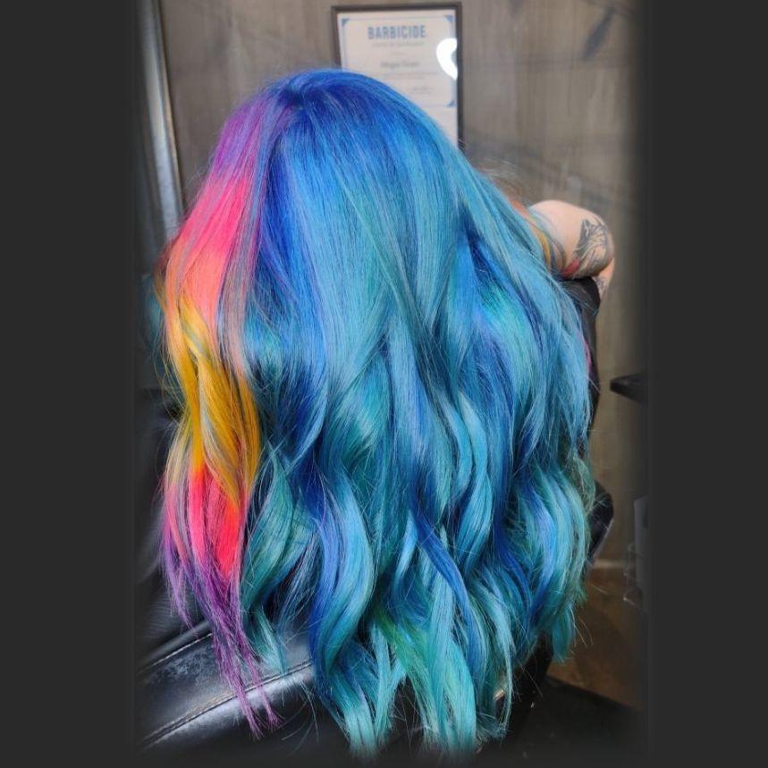 Blue hair pastel colorist olaplex alternative rainbowhair lgbqt friendly