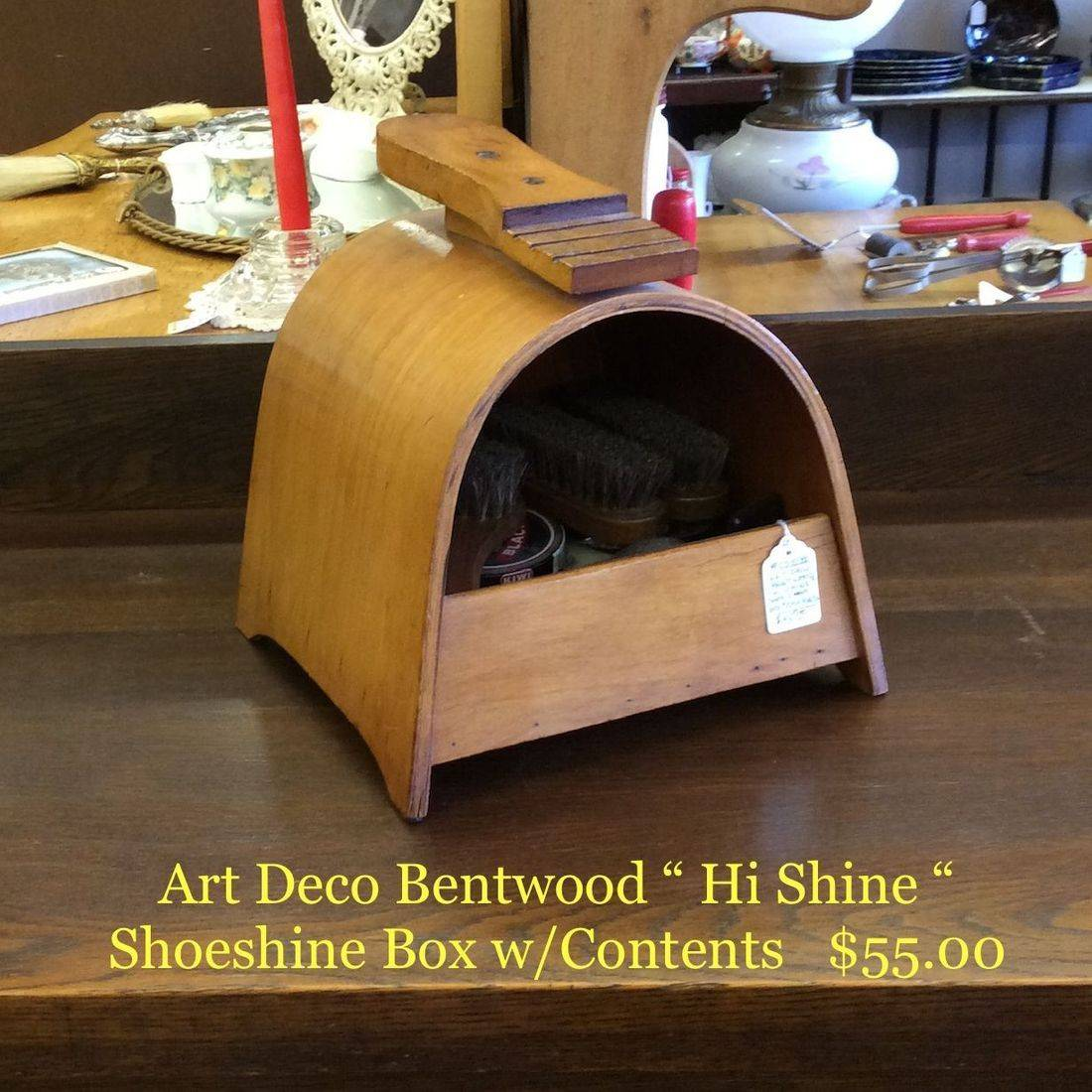 "Art Deco Bentwood  ""Hi Shine""  Shoe Shine Box w/Contents   $55.00"