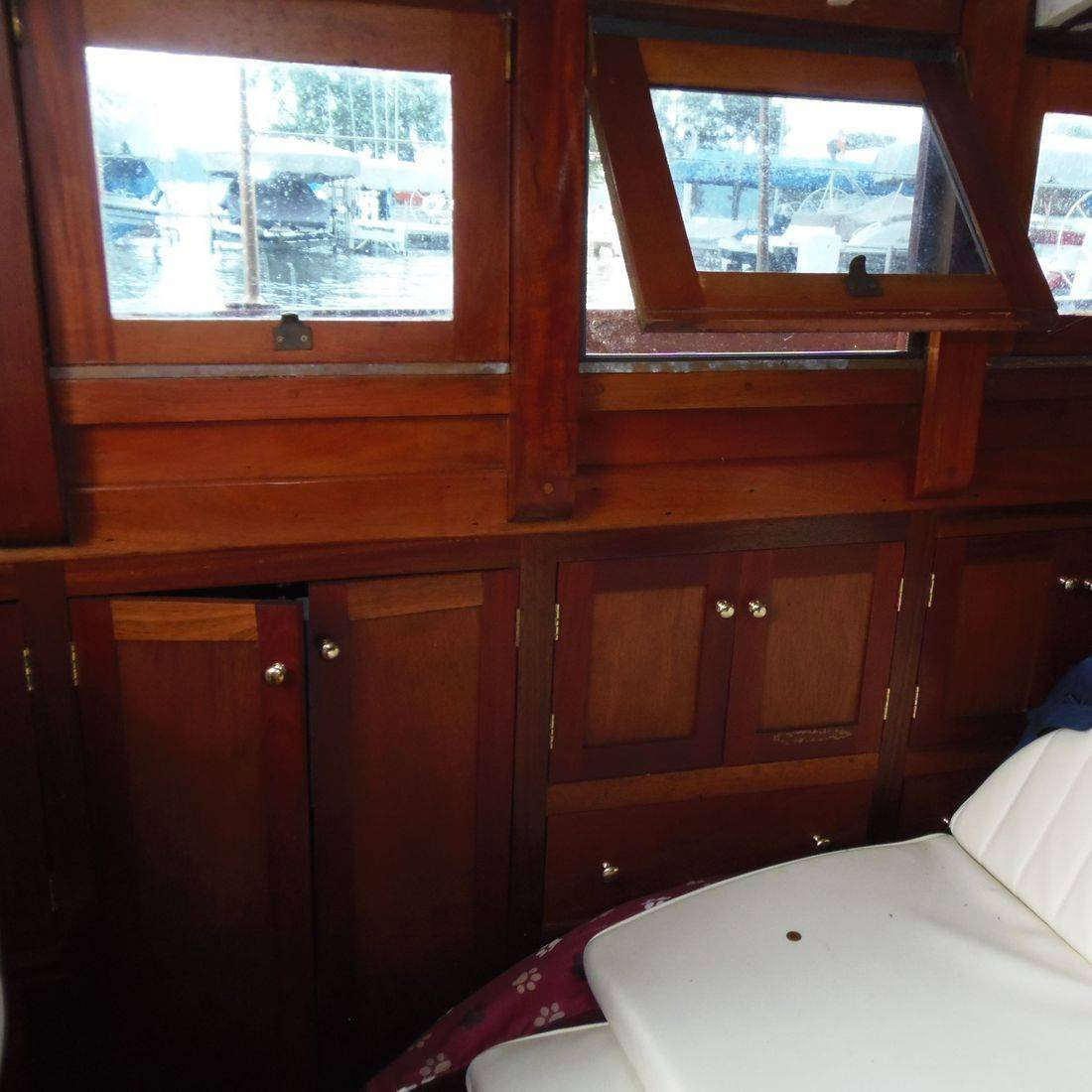 Wood boat on Lake Delavan listed by Bergersen Boat