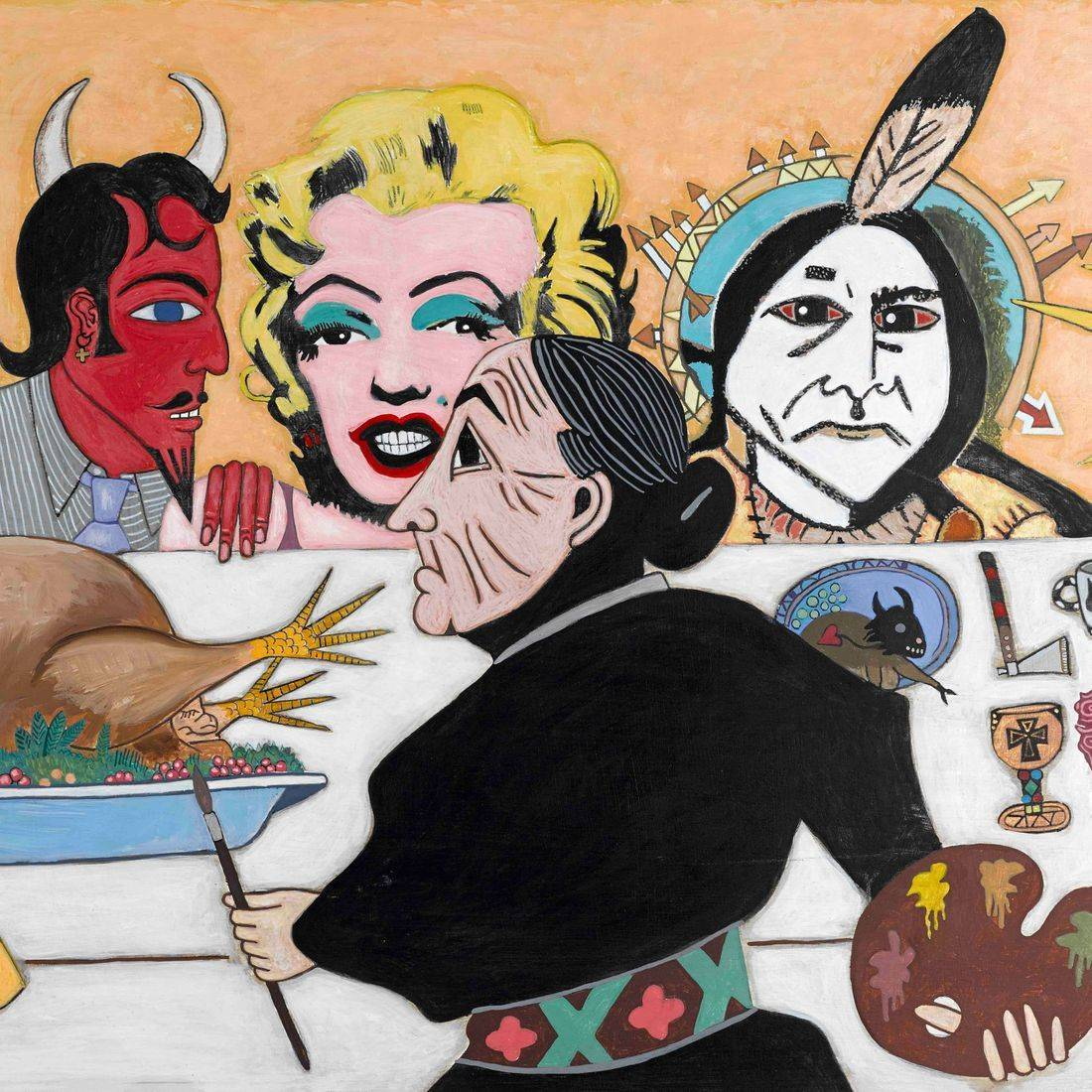 Thanksgiving, Picasso's Dog, John Lennon, Beatles, Apple Core Records, Invisible Album, Devil, Marilyn Monroe, Warhol's Marilyn Monroe, Sitting Bull, Our Lady of Guadalupe, Georgia O'Keeffe, Turkey