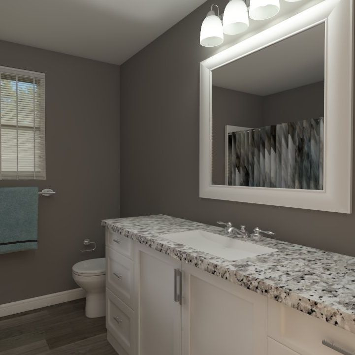 interior design, shared bathroom, grey, teal, white cabinets, granite counter top
